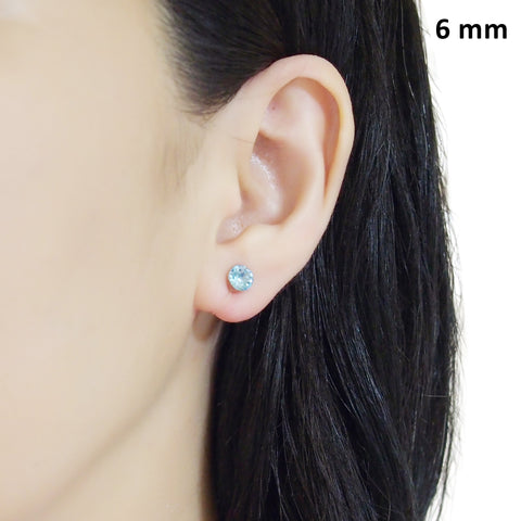 Aquamarin Swarovski crystal invisible clip on stud earrings