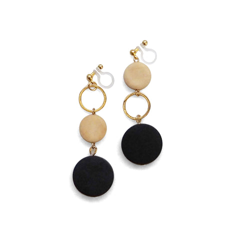 Black and beige wood invisible clip on earrings