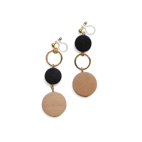 Beige and black wood invisible clip on earrings