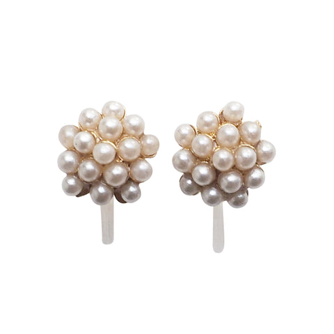 Beaded Small White Pearl Invisible Clip On Stud Earrings - Miyabi Grace