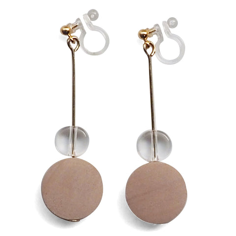 Beige Wood and Clear Disk Invisible Clip On Earrings - Miyabi Grace