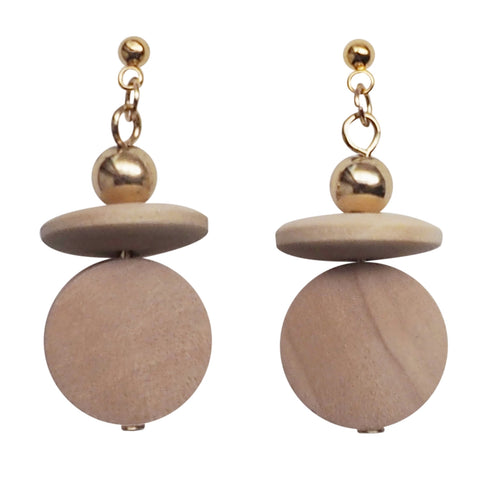 Beige Wood Disk and Cap Invisible Clip On Earrings - Miyabi Grace
