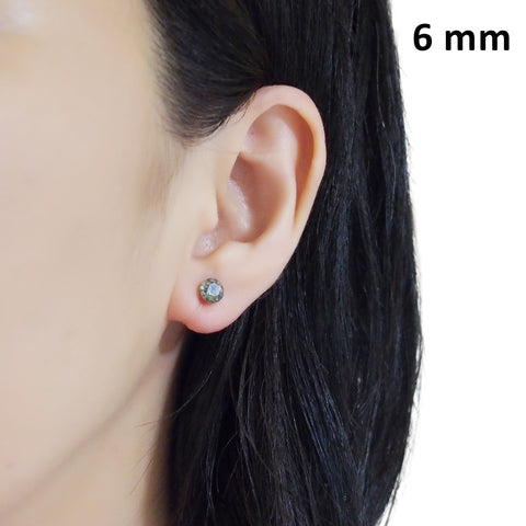 black diamond Swarovski crystal invisible clip on stud earrings - Miyabi Grace