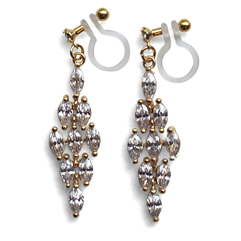 Diamond shape cubic zirconia invisible clip on earrings ( gold tone ) - Miyabi Grace