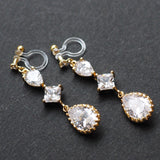 Bridal drop cubic zirconia invisible clip on earrrings (Gold tone)