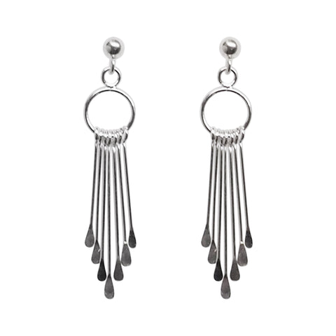 925 Sterling Silver Dangle Fringe Invisible Clip On Earrings - Miyabi Grace