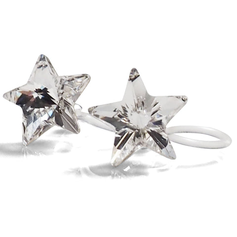 Star Swarovski crystal invisible clip on stud earrings - Miyabi Grace