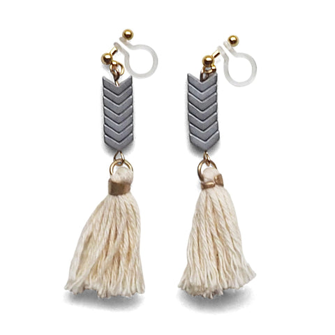 Chevron and White Tassel Invisible Clip On Earrings - Miyabi Grace
