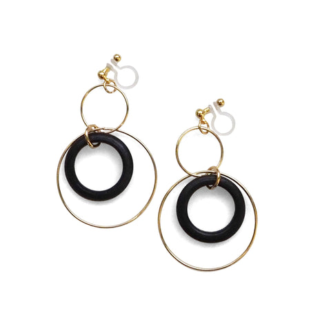 Black wood hoop invisible clip on earrings - Miyabi Grace