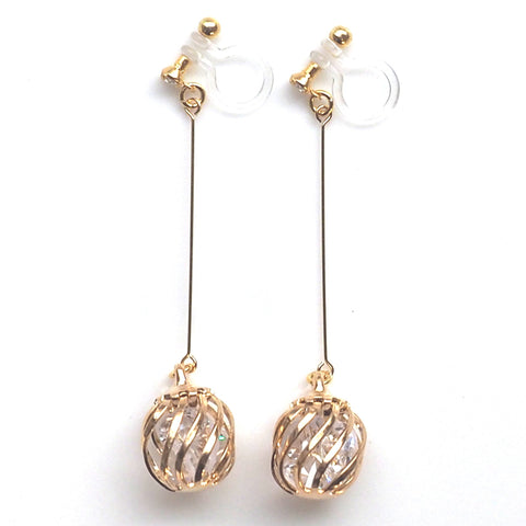 comfortable pierced look dangle gold long crystals in cage invisible clip on earrings MiyabiGrace 夾耳環 ノンホールピアス 夾式耳環 1