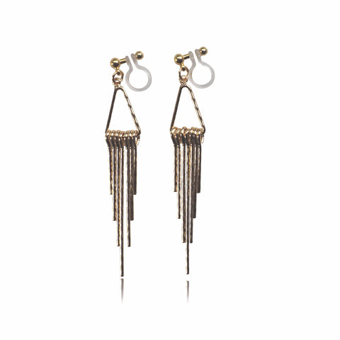 Gold fringe invisible clip on earrings - Miyabi Grace