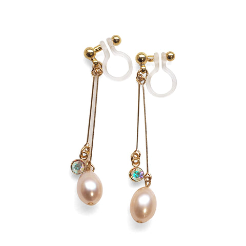 Light orange freshwater pearl invisible clip on earrings - Miyabi Grace