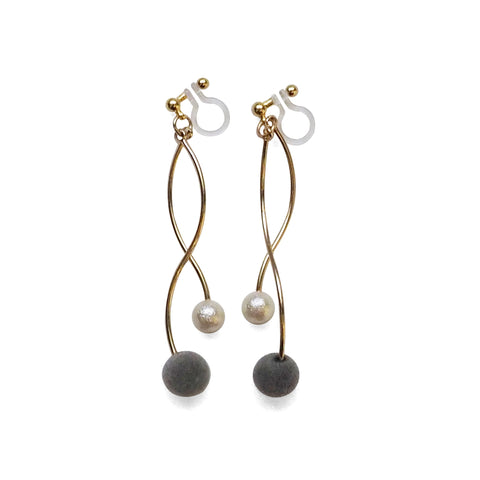 Gray velvet balls and white pearl invisible clip on earrings