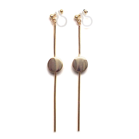 Dangle gold threader with coin invisible clip on earrings - Miyabi Grace