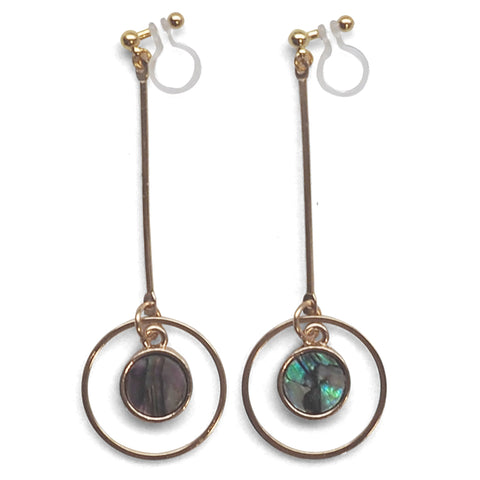 Abalone Shell and Dangle Long Round Hoop Invisible Clip on Earrings - Miyabi Grace