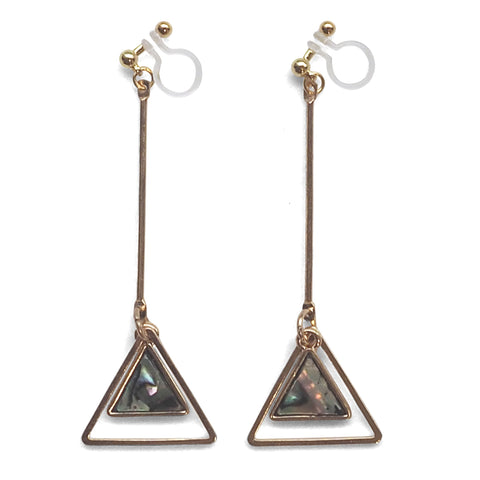 Abalone Shell and Dangle Long Triangle Hoop Invisible Clip on Earrings