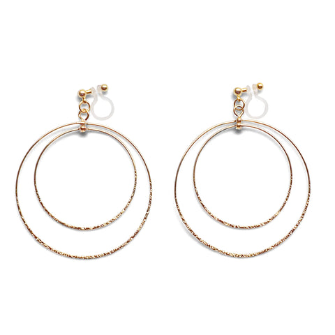 Dangle Gold Double Circle Hoop Invisible Clip on Earrings - Miyabi Grace
