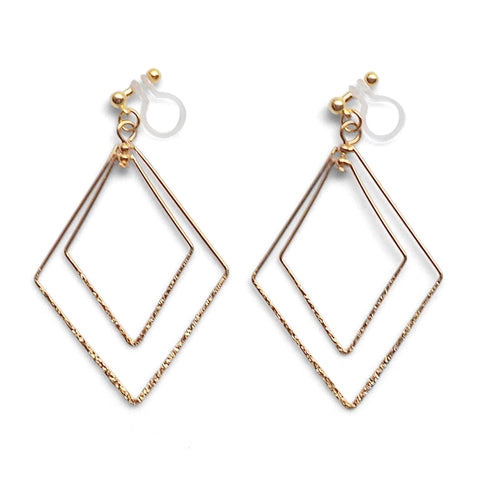 Dangle Gold Double Diamond Hoop Invisible Clip on Earrings - Miyabi Grace