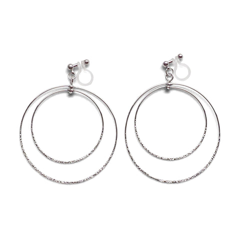 Dangle Silver Double Circle Hoop Invisible Clip on Earrings - Miyabi Grace