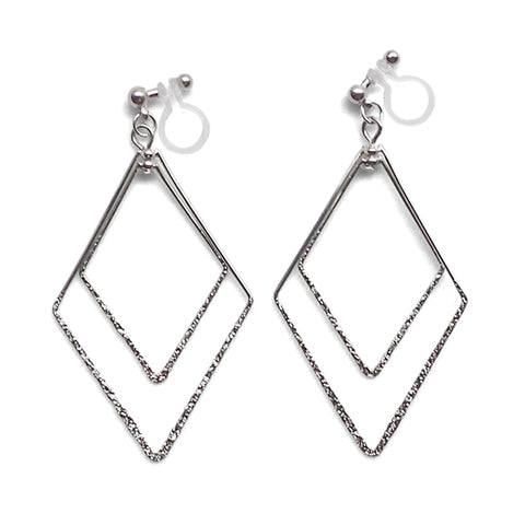Dangle Silver Double Diamond Hoop Invisible Clip on Earrings - Miyabi Grace
