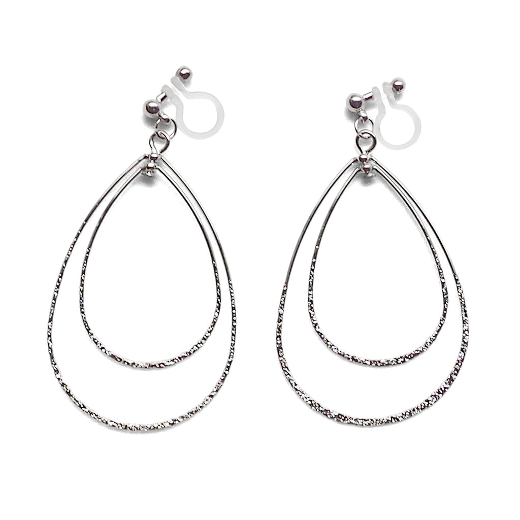 Dangle Silver Double Teardrop Hoop Invisible Clip on Earrings - Miyabi Grace