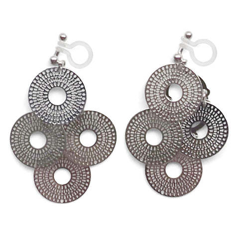 Dangle silver circle filigree invisible clip on earrings - Miyabi Grace