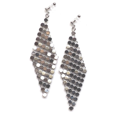 Silver mesh invisible clip on earrings - Miyabi Grace