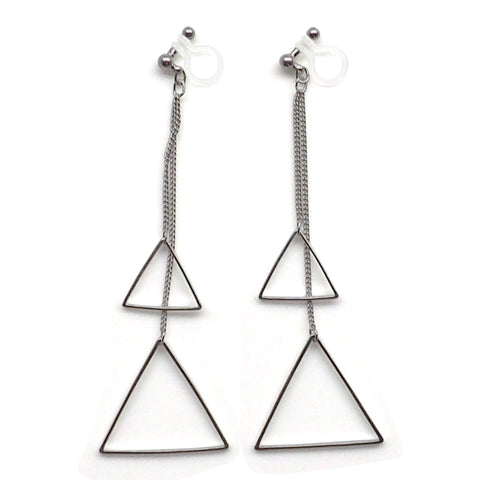 Dangle silver double triangle invisible clip on earrings - Miyabi Grace