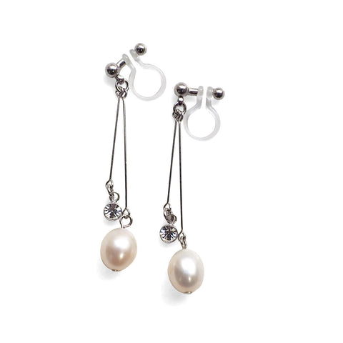 White freshwater pearl invisible clip on earrings