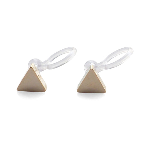 Minimalist Gold Triangle Invisible Clip On Stud Earrings - Miyabi Grace