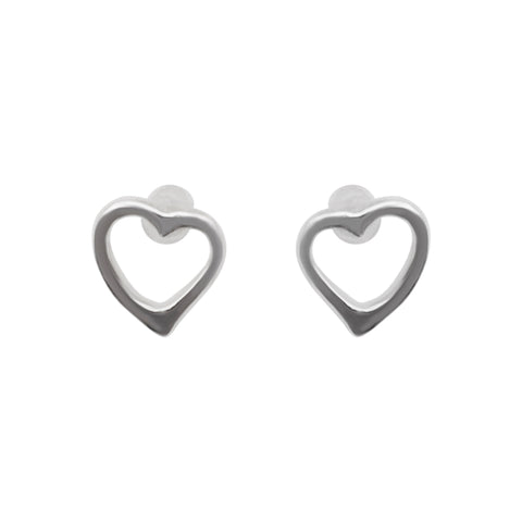 925 Sterling Silver Heart Invisible Clip On Stud Earrings - Miyabi Grace