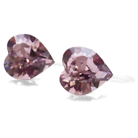 Light amethyst Swarovski crystal heart invisible clip on stud earrings
