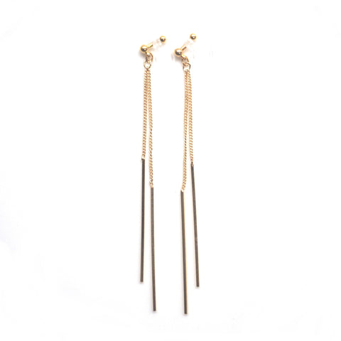 Long gold bar invisible clip on earrings - Miyabi Grace