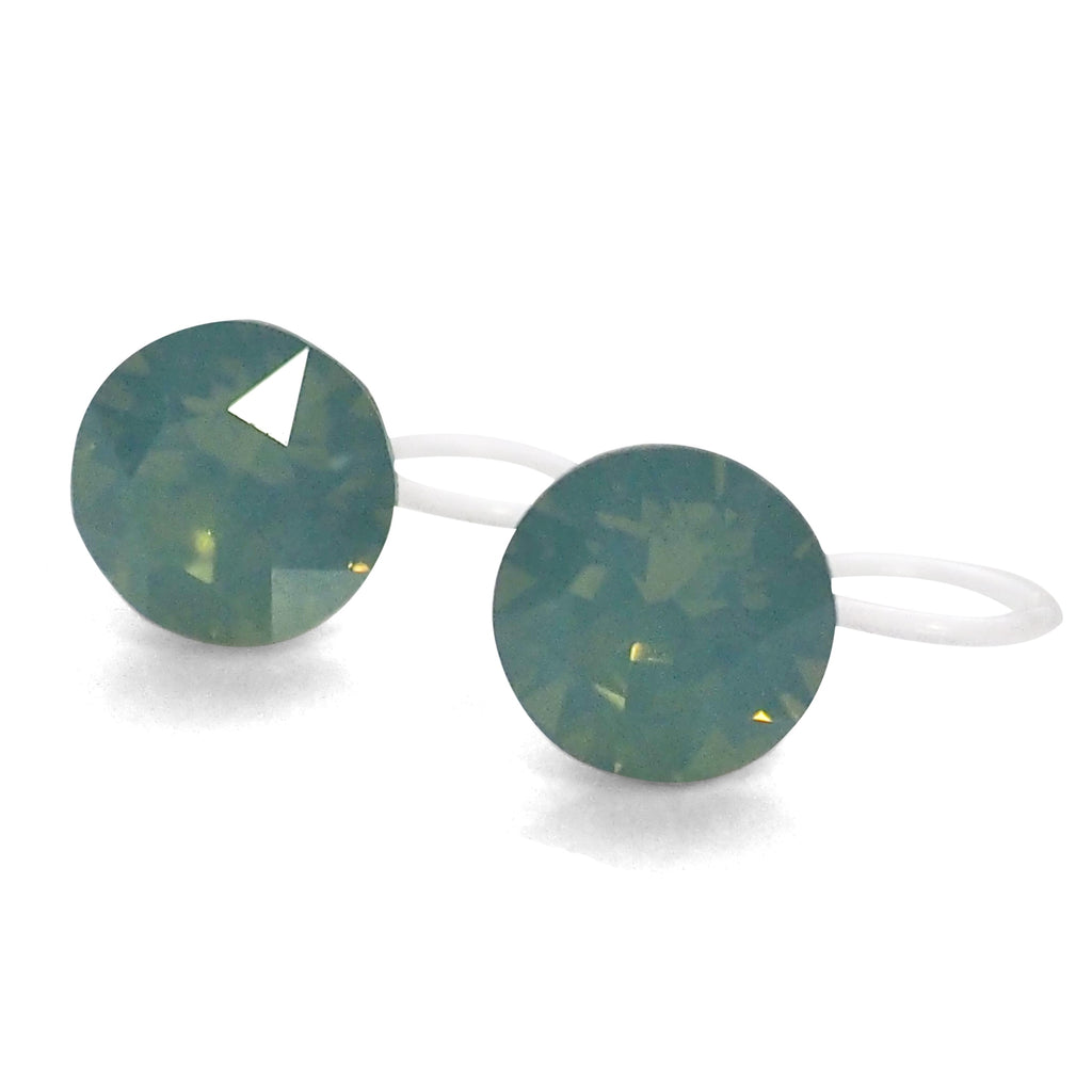 266296fbc7f32 Mint Green Pacific Opal Swarovski crystal invisible clip on stud ...