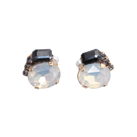 White and Black Rhinestone Invisible Clip On Stud Earrings ( Black ) - Miyabi Grace
