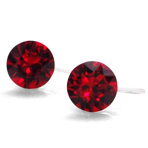 Light Siam Red Swarovski crystal invisible clip on stud earrings - Miyabi Grace