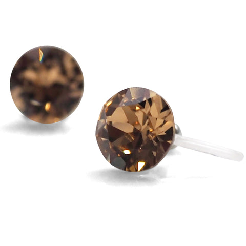 light brown topaz Swarovski crystal invisible clip on stud earrings - Miyabi Grace
