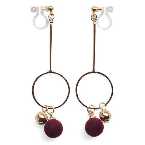 Burgundy Velvet and Gold Ball Invisible Clip On Earrings - Miyabi Grace