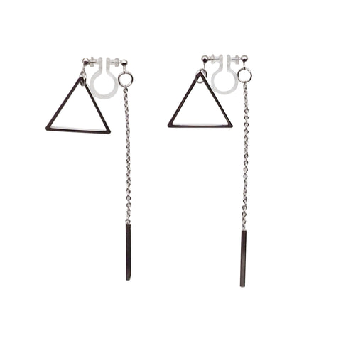 Silver Double-Sided Triangle and Bar Invisible Clip On Earrings - Miyabi Grace
