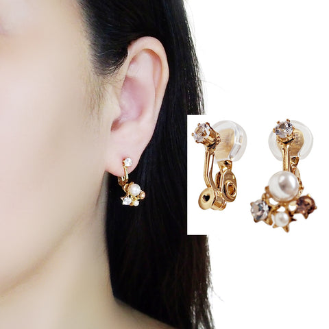 Comfortable clip angle adjustable clip on earring rhinestone converters ( Gold tone)