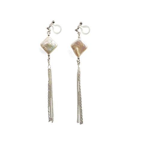 Square freshwater pearl with chain invisible clip on earrings - Miyabi Grace