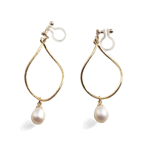 Freshwater pearl invisible clip on hoop earrings