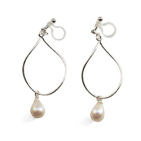Freshwater pearl invisible clip on hoop earrings - Miyabi Grace