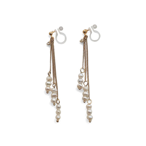Dangle Beaded White Freshwater Pearl Invisible Clip On Earrings (Gold tone) - Miyabi Grace