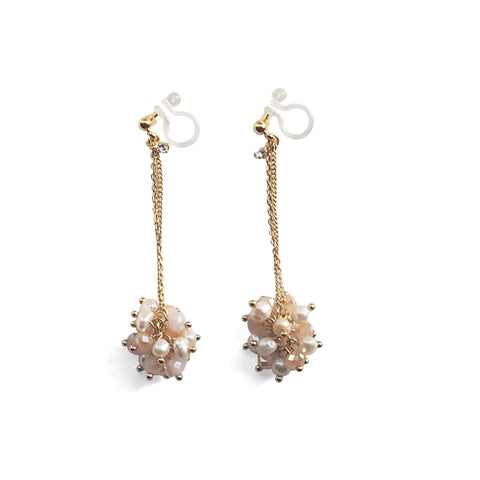 White Freshwater Pearl & Pink Crystal Ball Invisible Clip On Earrings (Gold tone) - Miyabi Grace