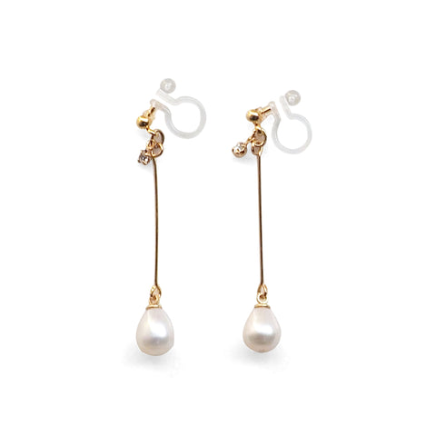 White Teardrop Freshwater Pearl Invisible Clip On Earrings (Gold tone) - Miyabi Grace