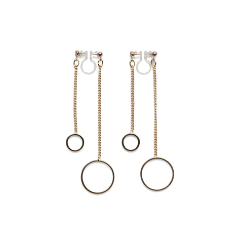 Double sided hoop invisible clip on earrings ( Gold tone ) - Miyabi Grace