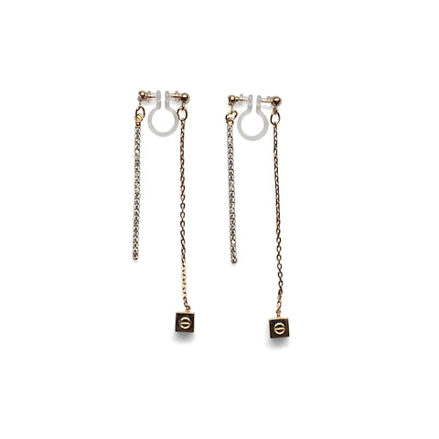 Double sided rhinestone & cube invisible clip on earrings ( Gold tone ) - Miyabi Grace