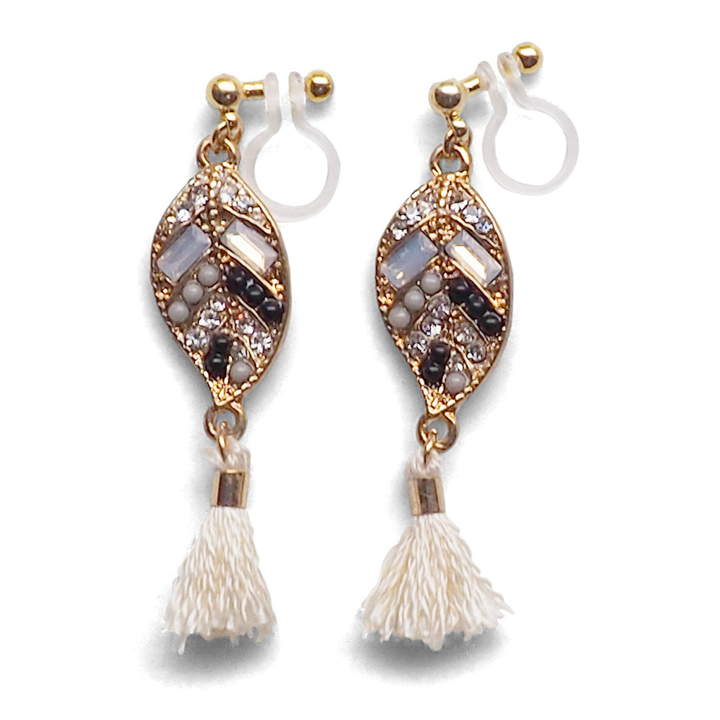Dangle gold leaf rhinestone and white tassel invisible clip on earrings - Miyabi Grace
