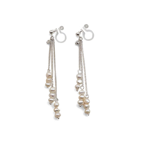Dangle Beaded White Freshwater Pearl Invisible Clip On Earrings (Silver tone) - Miyabi Grace
